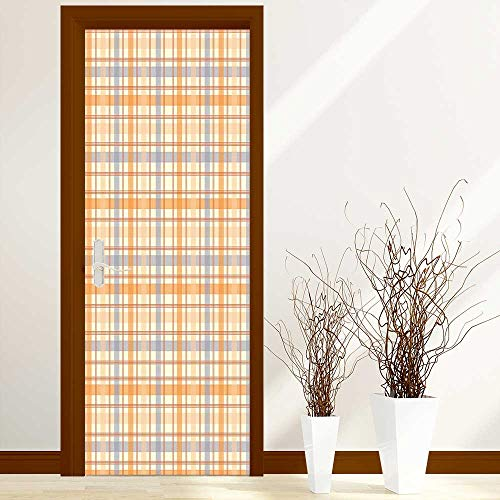 Sticker for Front Door Celtic Plaid Pattern Squares Stripes Geometric Traditional Tile Orange Peach Light Blue Anti-UV, Easy Installation W38.5 x H77 inch