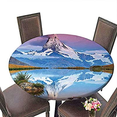 """RoundTable Cloth for Foot Table in Washable Polyester(Elastic Edge) suitable for all occasions, (29.5""""round)Surreal Decor Exquisite Mountain Range Reflection over Lake Dreamy Sunrise Alpine Panorama"""