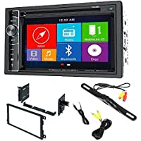 Power Acoustik PDN 626B Double Din AM/FM/DVD/BT 6.2-Inch with Navigation w/ Dash Mounting Installation Kit Night Vision Car License Plate Rearview Camera