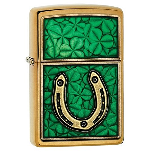 Clovers And Horseshoe Emblem Zippo Outdoor Indoor Windproof Lighter Free Custom Personalized Engraved Message Permanent Lifetime Engraving on Backside