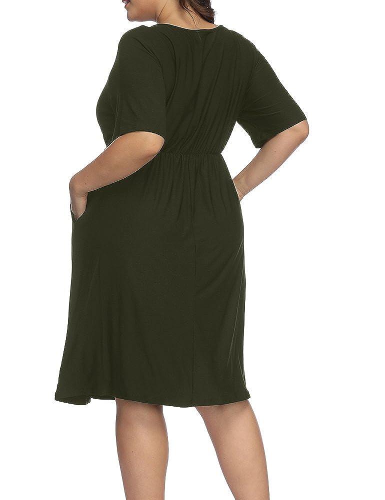 a0b8ac1513b Allegrace Women Plus Size Half Sleeve Round Neck Cocktail Midi Dress Ruffle  Party Dresses at Amazon Women s Clothing store