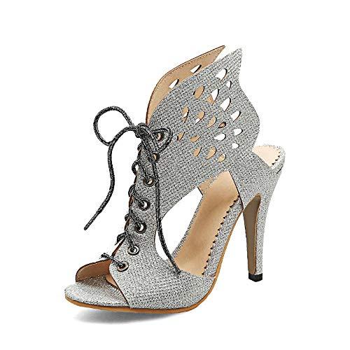 Tamaño Zapatos Grande Mujer Verano Altos Gladiador De Tacones 33 46 2018 Silver Hoesczs Sandalias Tg5CxwqSFW