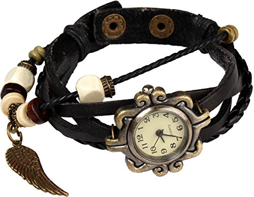 Women Handmade Watches Weave Wrap Leather Bracelet Wristwatch White - 2