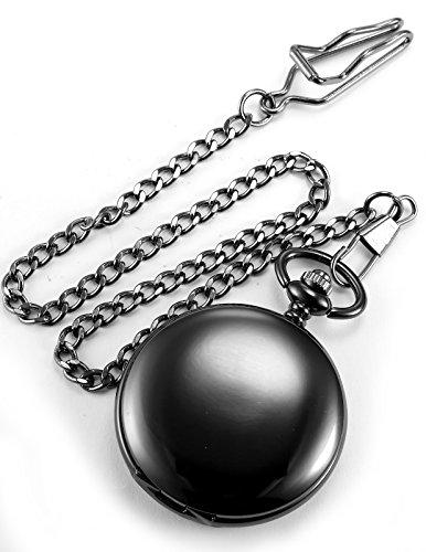 AMPM24 Vintage Black Men's Women Ladies Quartz Pendent Pocket Watch Clock Chain Gift WPK026 by AMPM24 (Image #3)