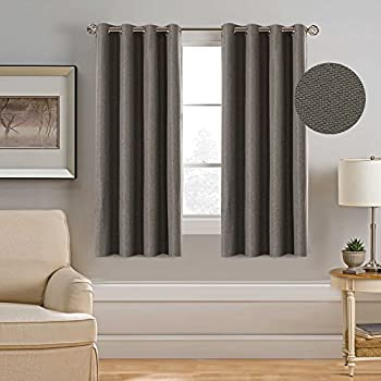 Amazon.com: Room Darkening Faux Linen Curtains Thermal Insulated ...