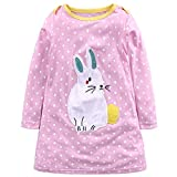 Little Girls Cute Casual Cotton Cartoon Animals Printed Stripe Long Sleeve/Short Sleeve T-Shirt Dresses 1-6 Years (100, Pink-Rabbit)