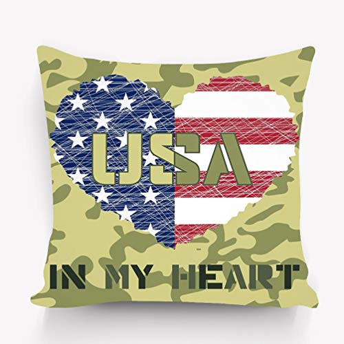 YILINGER Decor Cotton Velvet Vintage Home Throw Pillow Case 18 x 18 Inches USA Design American Flag as Heart Shaped Symbol Patriotic Typography Mans Printing Fashion Print Sportswear