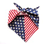 Large Stars Stripes Reversible Patriotic Tie On Dog Bandanna or Human Headband Red White Blue Neckwear