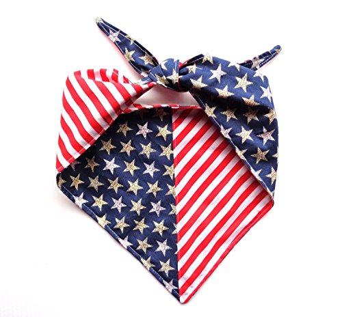 Large Stars Stripes Reversible Patriotic Tie On Dog Bandanna or Human Headband Red White Blue Neckwear by puranco inc