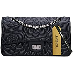 SanMario Designer Handbag Lambskin Classic Rose Stitch Embroiderered Grained Double Flap Black Metal Chain Women's Crossbody Shoulder Bag Black 25.5cm/10""