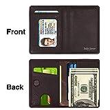 LUCKY FLOWER RFID Blocking Travel Wallet for Men,Minimalist Genuine Leather Slim Bifold Card Holder Purse(Coffee)