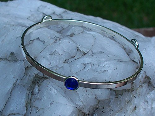 Recycled Vintage Cobalt 1960's Face Cream Jar Stacking Bangle Bracelet ()