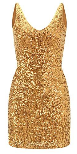 Howriis Women's Sequins Sleeveless V-Neck Mini Dresses (One Size, Gold) ()