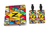 Rikki Knight Letter Z Monogram Vibrant Colors Stained Glass Design Passport Holder with slots for Travel documents with 2 matching (1-sided) Luggage Identifier Tags