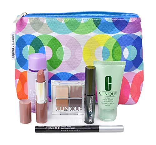 CLINIQUE Kapitza 7 Piece| Cosmetic Bag, Makeup & Skincare Gift Set -