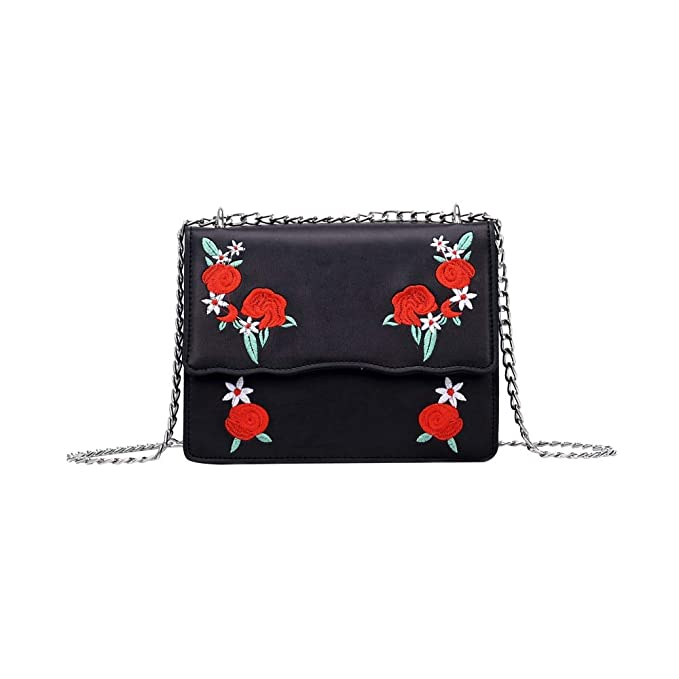 d217e310e6 Women Embroidery Flower Flap Bags Fashion PU Leather Messenger Bag Ladies  Small Crossbody Shoulder Black