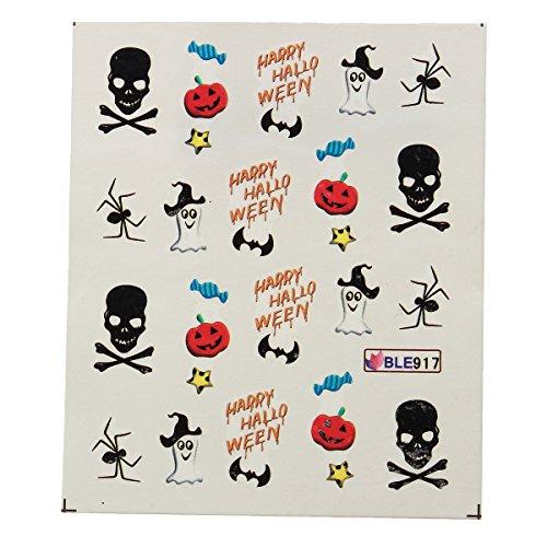 CoolLife Nail Art Stickers Decals Assorted Pumpkin Spider Ghosts Pattern