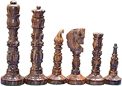 """Mugal Design Chess set Historical Medieval Design Chess Set reproduction King 4"""" 32 Wooden Chess Pieces"""