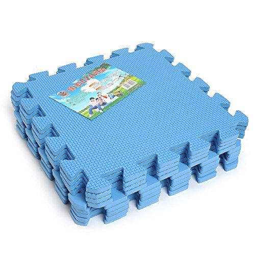 BigFamily 9 PCS Interlocking Anti-Fatigue Waterproof Puzzle Floor Foam Mats Blue Tiles ()