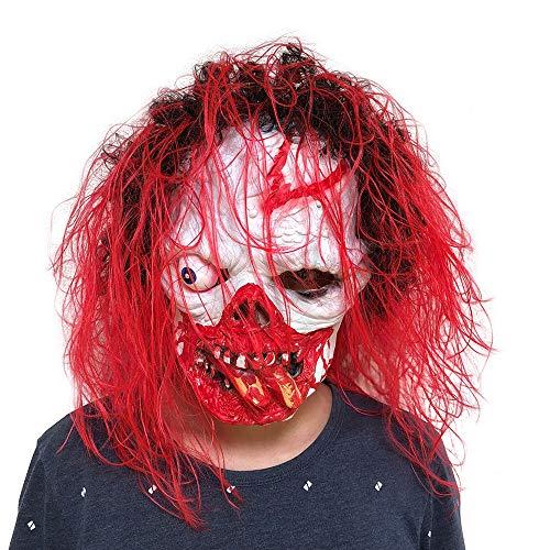 (JPOQW Halloween Party Horror Mask Surreal Full Head Latex Masquerade Costume Props)