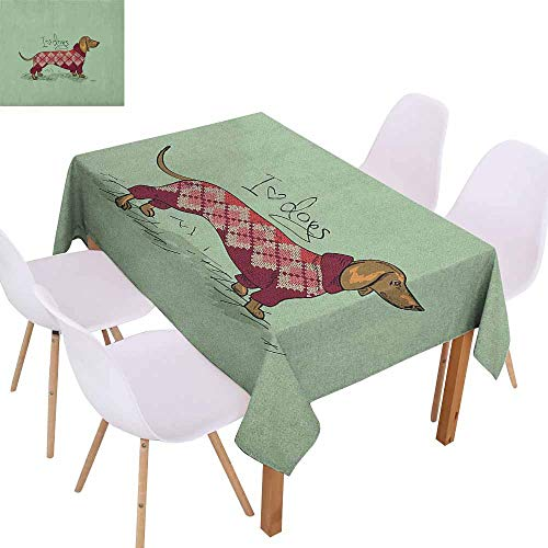 Washable Table Cloth Dachshund Cute Dog in Knitted for sale  Delivered anywhere in Canada