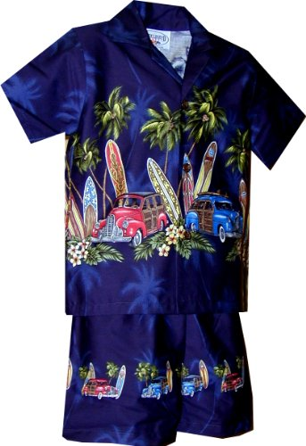 Pacific Legend Boys Old Time Woodie Surfboard 2pc Set Navy Blue 6T for 4yrs old ()