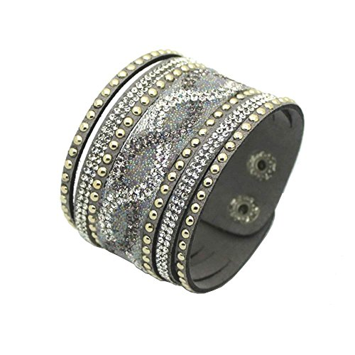 Physn Crystal Leather Bracelets & Bangles Personality Printed Pave Setting Rhinestone Charm Bracelet For Women (Silver)