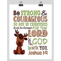 Moose Woodland Animal Inspirational Nursery Decor Print - Be Strong & Courageous Joshua 1:9