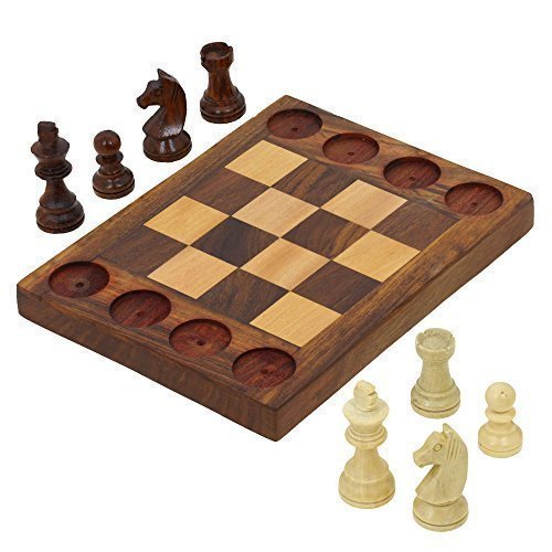 Cross Chess (Handmade Wooden Beginners Chess Set - Cross Between Chess and Tic Tac Toe - Teaches Basic Chess Moves )