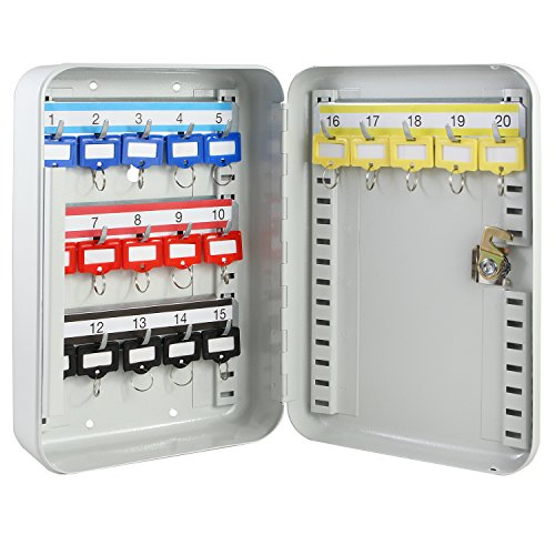 Schlüsselkasten 250 x 170 x 75 mm, 20 Haken, lichtgrau mit verstellbaren Hakenleisten