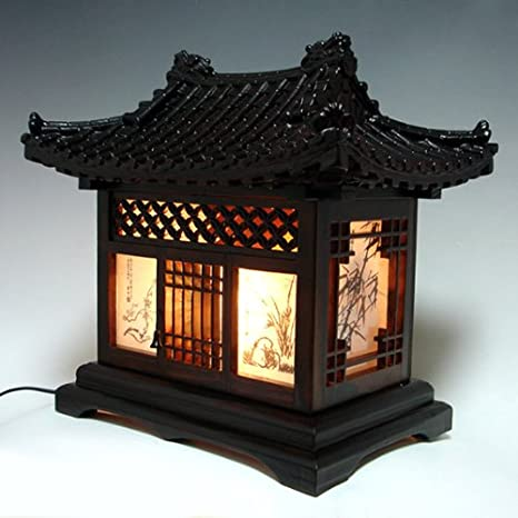 Wood Lamp Shade Handmade Traditional Korean House Design Art Lantern Brown  Asian Oriental Decorative Bedside Bedroom