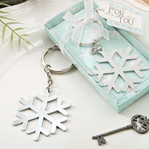 Stunning Snow flake design silver metal key chain ()