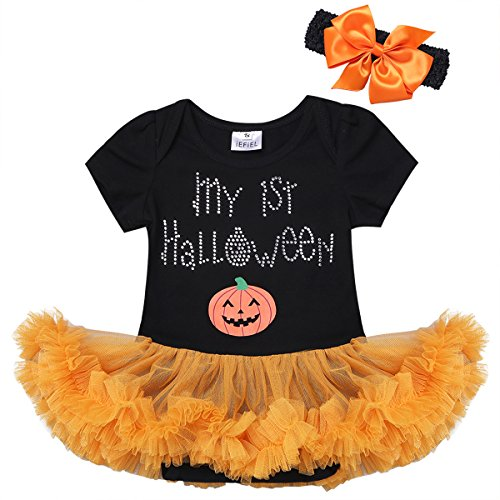 YiZYiF Baby Infant Girls Christmas Romper Tutu Set First Christmas Clothing Set (9-12 Months, Black 1st Halloween)