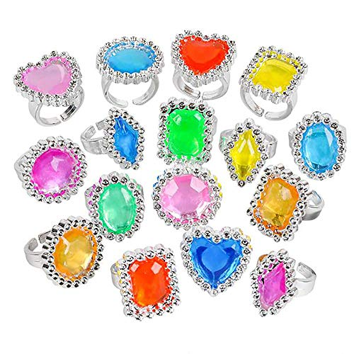 (Powerful Plastic Jewel Ring - 144 Pieces Plastic Gem Ring for Kids - Assorted Toy Giveaways, Princess Party Favors, Creative Costume Accessories, Birthday Loot Bags and Piñata Filler)