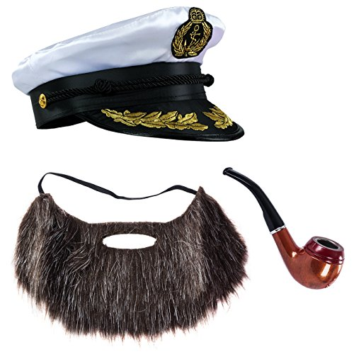 Tigerdoe Sailor Hat - 3 Pc Set - Captain Hat, Pipe & Beard - Ship Captain Costume - Skipper Costume - Yacht Captain Costume -