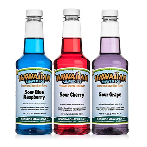 Hawaiian Shaved Ice Hawaiian Shaved Ice 3 Flavor Sour Pack of Shaved Ice Syrup | Kit Includes Most Popular Sour Snow Cone Syrup Flavors - Sour Cherry, Sour Grape, & Sour Blue Raspberry, 16 Fluid Ounce