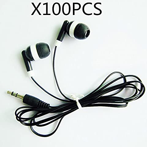 Wholesale Bulk Earbuds Headphones 100 Pack For Iphone, Android, MP3 Player - Black (Shipping By - Wholesale Outlet