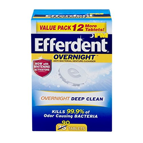 Efferdent PM Overnight Anti-Bacterial Denture Cleanser Tablets, 90 (Dental Cleanser)