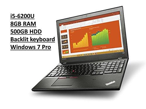 Lenovo ThinkPad T560 20FH 15.6'' Business Laptop: Intel Core i5-6200U   8GB RAM   500GB HDD   Backlit Keyboard   FingerPrint Reader   Windows 7 Professional upgradeable to Windows 10 Pro by Lenovo