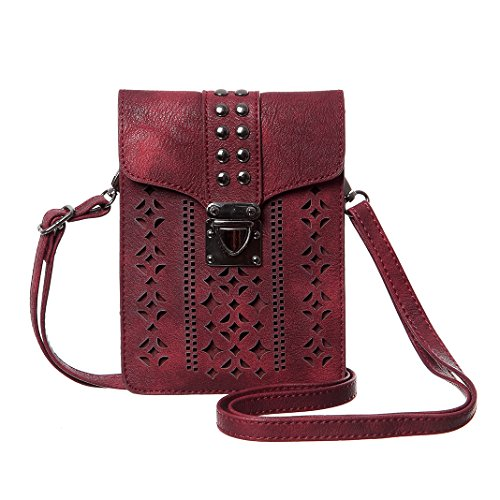 Price comparison product image MINICAT Women Hollow Texture Series Crossbody Bag Cell Phone Purse Wallet(Wine Red)