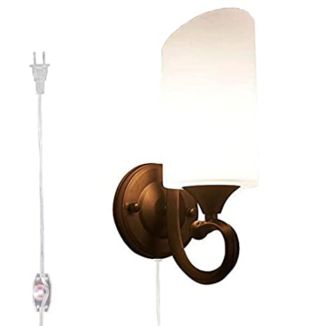 buy popular 1c49e 3b066 Kiven Dimmable Wall Sconce Mordern Led Wall Light E26 Socket Wall Lamp for  Bathroom Dining Room Kitchen Bedroom,One Cable, Mains Plug and dimmer ...