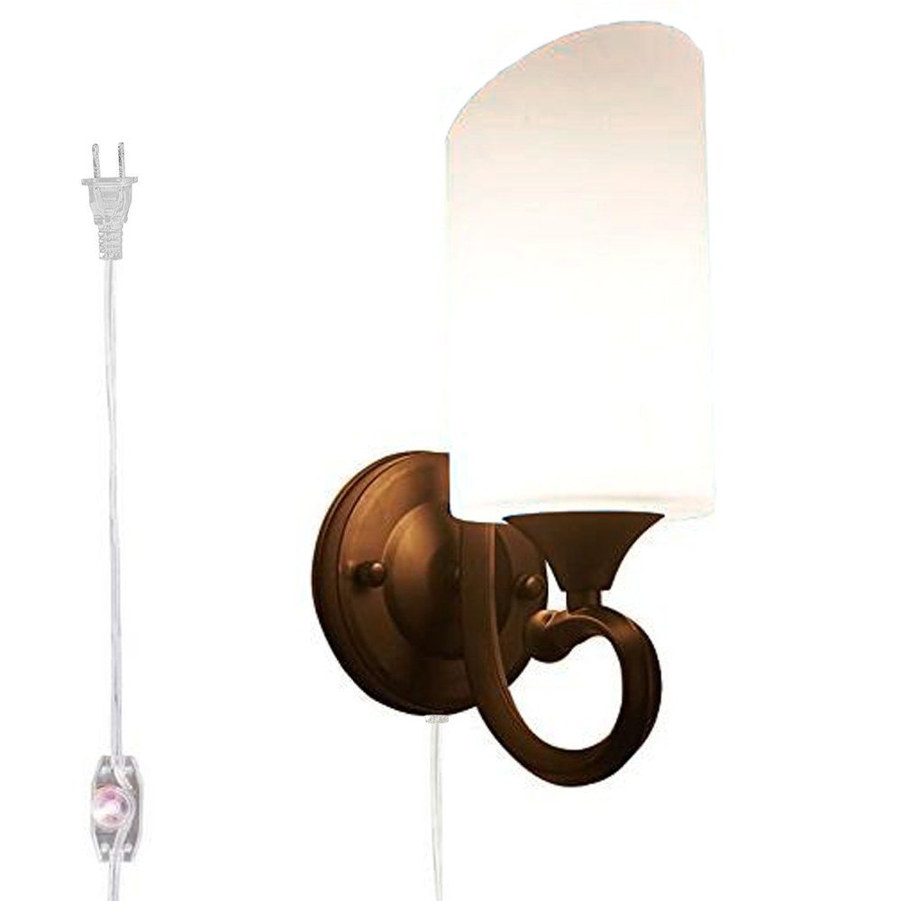 Kiven Dimmable Wall Sconce Mordern Led Wall Light E26 Socket Wall Lamp For Bathroom Dining Room Kitchen Bedroom,One Cable, Mains plug and dimmer switch(bulb sold separately)