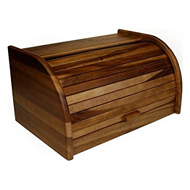 Mountain Woods Large Acacia Wood Roll Top Bread Box & Storage Box