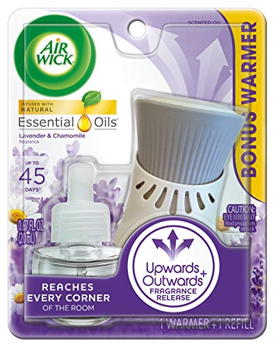 Air Wick plug in Scented Oil, Starter Kit, Lavender & Chamomile 1ct, Essential Oils, Air - Fragrance Dispenser Kit