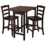 Winsome Wood Lynnwood Drop Leaf High Table with 2 Counter Ladder Back Stool/Chair, 3-Piece