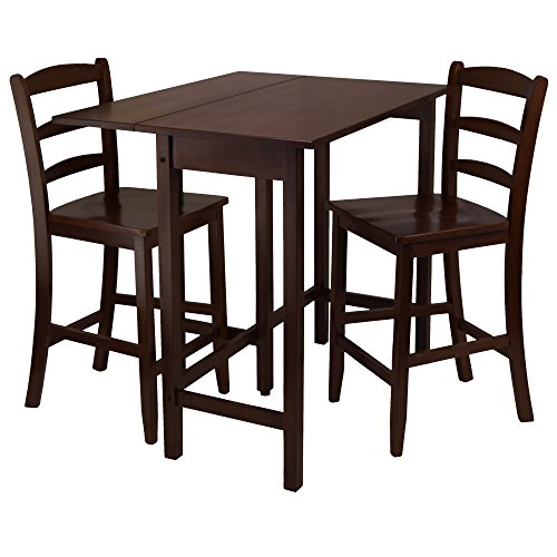 2 Piece Drop Leaf (Winsome Lynnwood Drop Leaf High Table with 2 Counter Ladder Back Stool/Chair, 3-Piece)