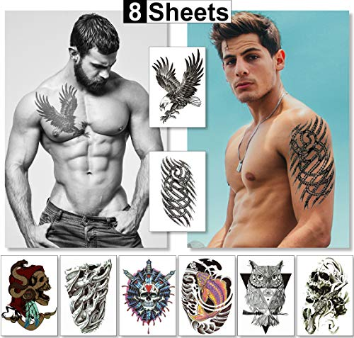 Temporary Tattoos For Men Guys Boys & Teens (8 Large Sheets) - Fake Tattoos Stickers For Arms Shoulders Chest Back & Legs Eagle Koi Fish Skull Gun Owl Tattoo Realistic Waterproof Tattoos Black -