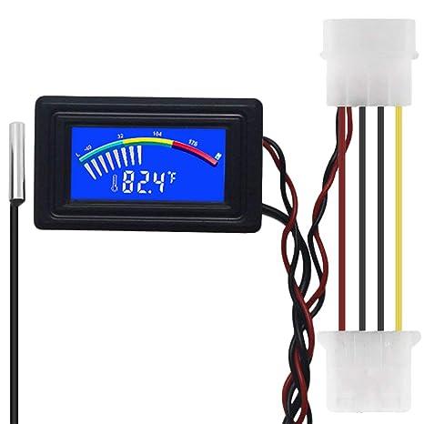 KETOTEK Termómetro Acuario Digital Medidor de termómetro de Temperatura Coche Pecera Invernadero Celsius Fahrenheit LED Impermeable