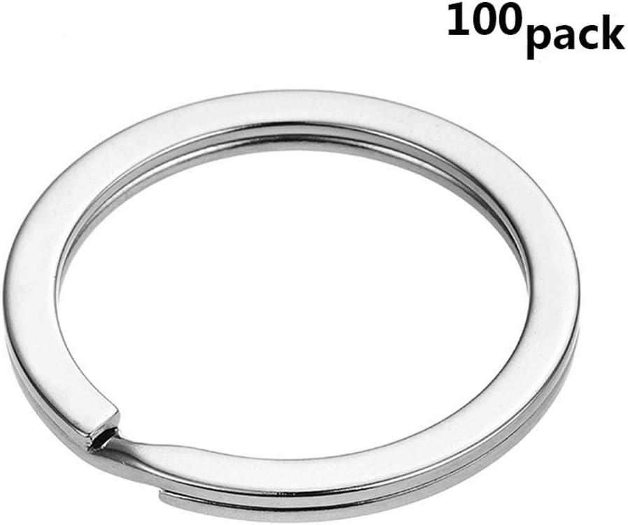 Ogquaton Porte-cl/és rond Porte-cl/é circulaire en m/étal avec anneau fendu de 25 mmAnneaux pour lorganisation de cl/és 100Pcs /él/égant et populaire