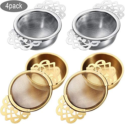 Silver, 4 Pieces Mesh Tea Infuser Stainless Steel Loose Leaf Tea Filter with Double Winged Handles for Better Tea Experience Empress Tea Strainers with Drip Bowls